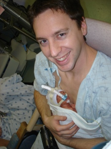 Father and newborn, kangaroo care